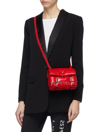 Front View - Click To Enlarge - ALEXANDER WANG - 'Halo' metal cage quilted leather mini shoulder bag