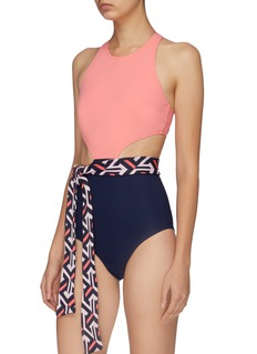 Flagpole Swim 'Lynn' detachable sash cutout side colourblock one-piece swimsuit