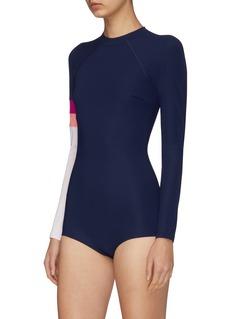 Flagpole Swim 'Ronnie' colourblock long sleeve one-piece swimsuit