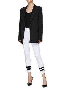 L'AGENCE 'Margot' stripe cuff skinny jeans
