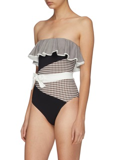Marysia 'Greenport Maillot' belted gingham check panel one-piece swimsuit