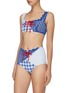 Marysia 'Wainscott' tie front patchwork gingham check bikini top