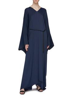 The Row 'Joanna' tassel tie waist drape V-neck gown