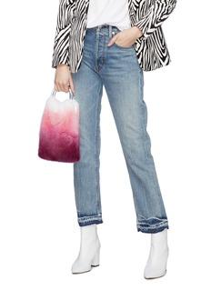 Simonetta Ravizza 'Furrissima Degrade' clear ring handle mink fur sac bag
