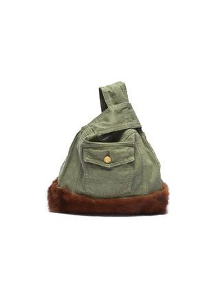 Main View - Click To Enlarge - Simonetta Ravizza - ''Furrissima' mink trim denim sac bag