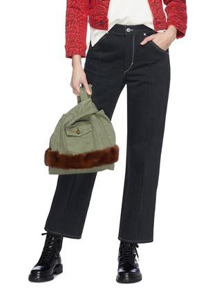 Figure View - Click To Enlarge - Simonetta Ravizza - ''Furrissima' mink trim denim sac bag