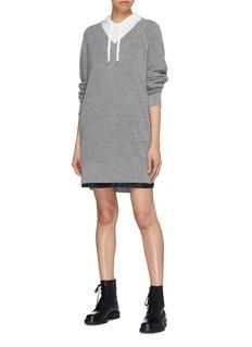 T By Alexander Wang Colourblock hoodie panel wool sweater dress