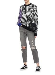 Double Rainbouu Contrast sleeve zebra jacquard sweater