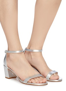 Stuart Weitzman 'Simple' ankle strap metallic leather sandals