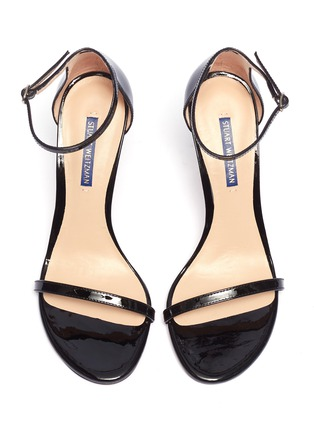 Detail View - Click To Enlarge - STUART WEITZMAN - 'Nudistsong' ankle strap patent leather sandals