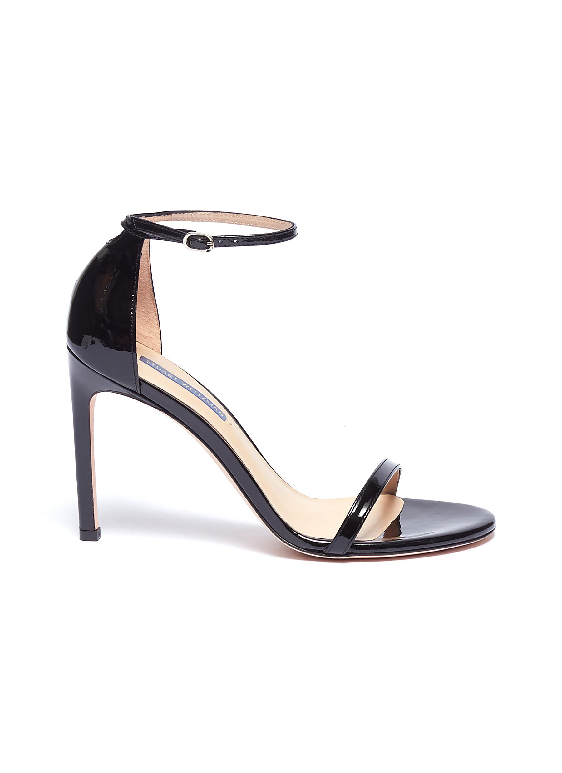 Nudistsong ankle strap patent leather sandals by Stuart Weitzman