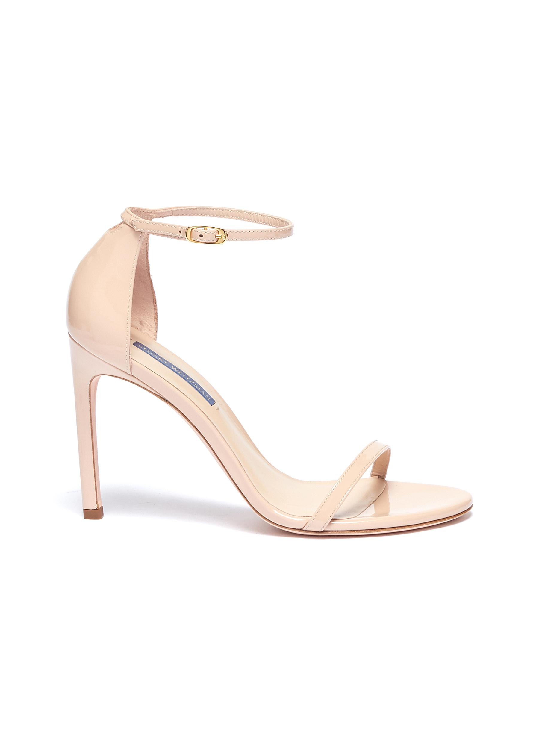 Nudistsong ankle strap patent leather ankle strap sandals by Stuart Weitzman