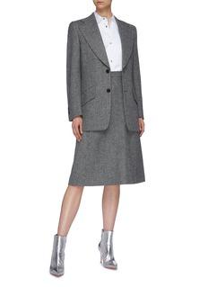Maison Margiela Décortiqué cutout wool herringbone midi skirt