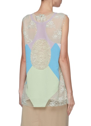 Back View - Click To Enlarge - Maison Margiela - Layered colourblock panel Chantilly lace sleeveless top