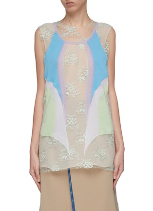 Main View - Click To Enlarge - Maison Margiela - Layered colourblock panel Chantilly lace sleeveless top