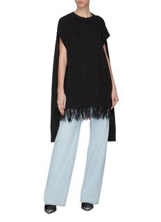 Maison Margiela Convertible sleeve ostrich feather hem cable knit sweater