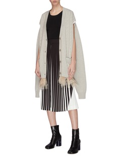 Maison Margiela Convertible sleeve ostrich feather hem cable knit cardigan