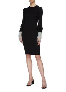 Maison Margiela Layered contrast ruched cuff rib knit dress