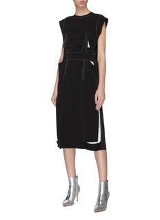 Maison Margiela Décortiqué cutout contrast topstitching dress
