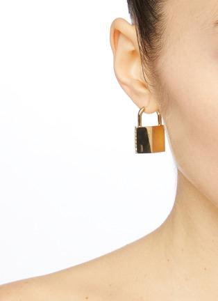 Figure View - Click To Enlarge - Bittersweet - 'Padlock' cubic zirconia single drop earring