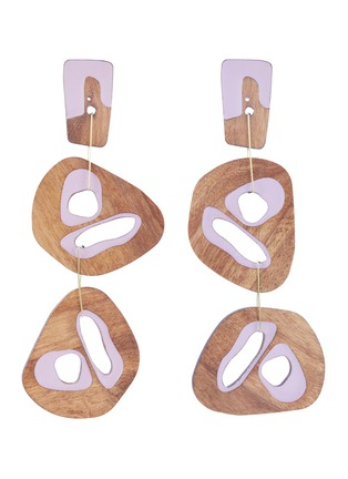 Main View - Click To Enlarge - Roksanda - Cutout sculptural wood mismatched drop earrings