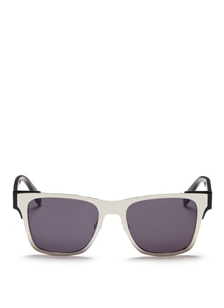 Main View - Click To Enlarge - Alexander McQueen - Metal front frame acetate sunglasses