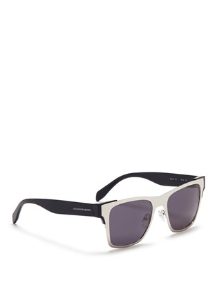 Figure View - Click To Enlarge - Alexander McQueen - Metal front frame acetate sunglasses