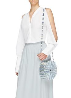 Cult Gaia Luna' beaded strap acrylic caged crossbody bag