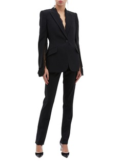 Alexander McQueen Chantilly lace panel split sleeve crepe blazer