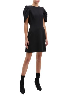 Alexander McQueen Cape panel puff sleeve crepe dress