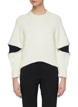 Main View - Click To Enlarge - Alexander McQueen - Zip elbow gusset wool sweater