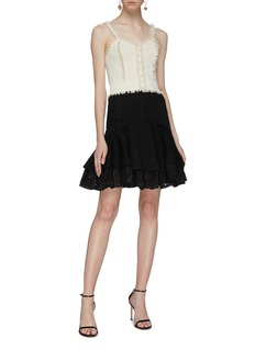 Alexander McQueen Ruffle trim jacquard knit cropped camisole top