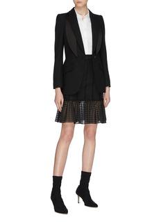 Alexander McQueen Stripe knit mesh peplum skirt