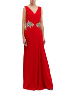 Alexander McQueen Glass crystal floral crepe gown