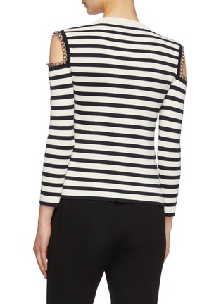Back View - Click To Enlarge - ALEXANDER MCQUEEN - Chain cold shoulder stripe wool sweater