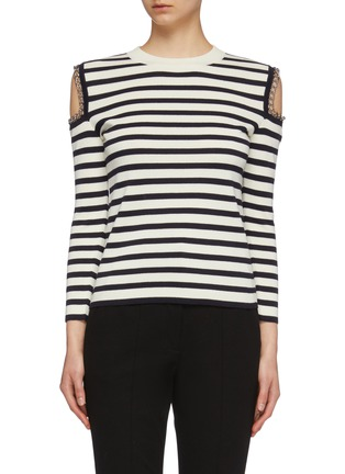 Main View - Click To Enlarge - ALEXANDER MCQUEEN - Chain cold shoulder stripe wool sweater