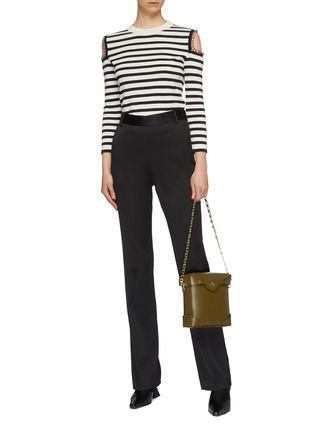 Figure View - Click To Enlarge - ALEXANDER MCQUEEN - Chain cold shoulder stripe wool sweater