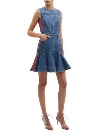 Figure View - Click To Enlarge - Alexander McQueen - Stripe outseam panelled denim peplum dress