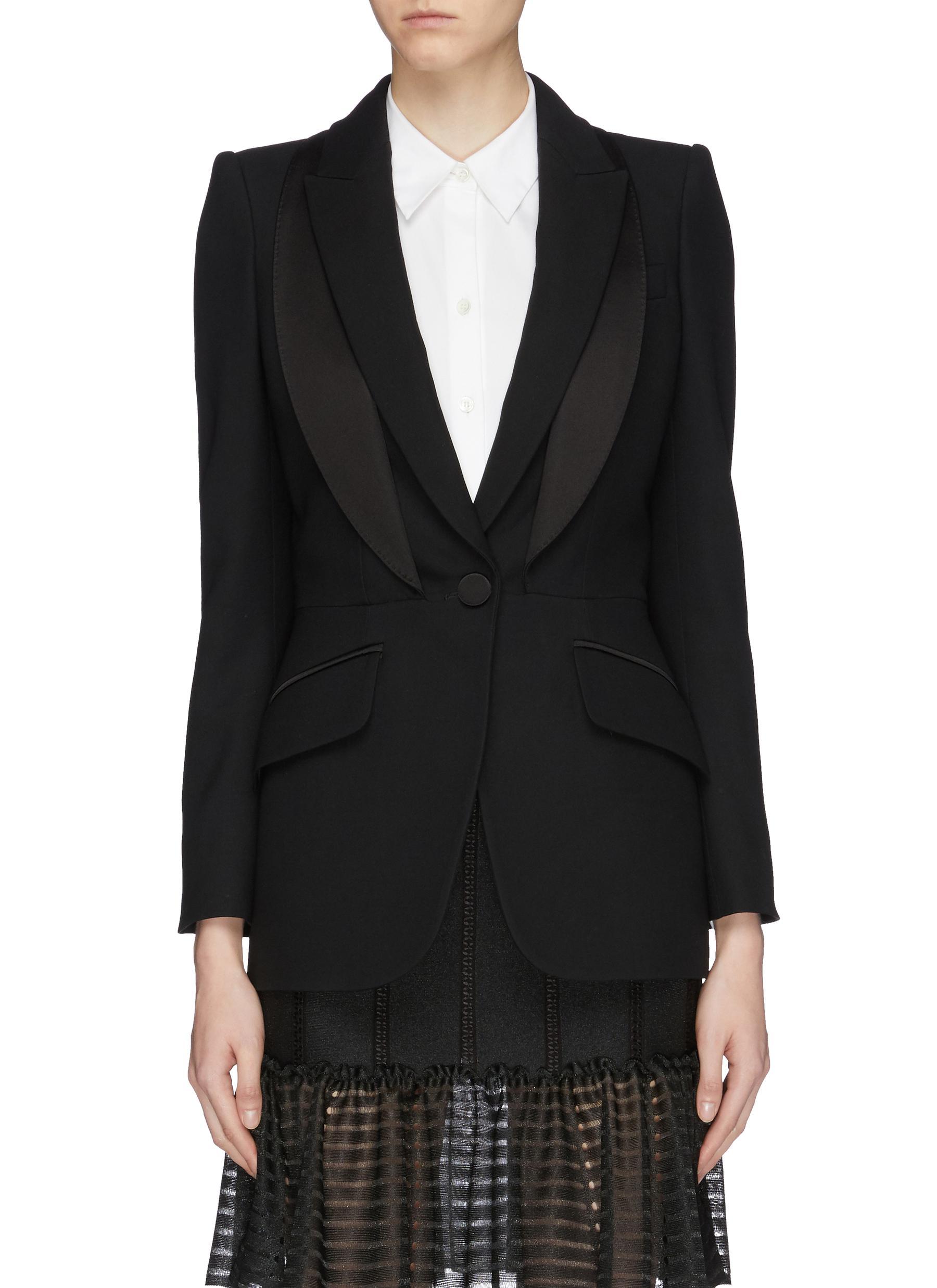 Layered lapel tuxedo blazer by Alexander Mcqueen