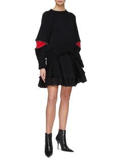 Alexander McQueen Broderie anglaise hem denim skirt