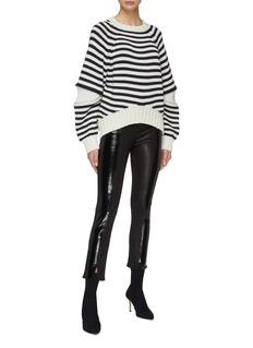 Alexander McQueen Zip elbow gusset stripe wool sweater