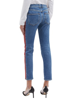 Back View - Click To Enlarge - ALEXANDER MCQUEEN - Stripe outseam skinny jeans