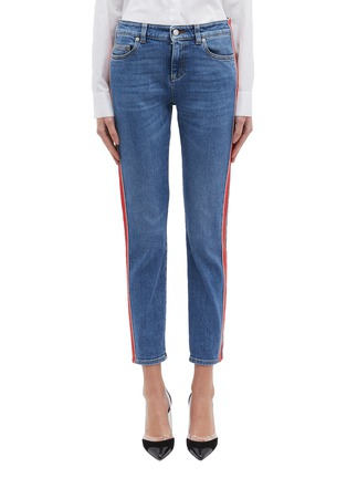 Main View - Click To Enlarge - ALEXANDER MCQUEEN - Stripe outseam skinny jeans