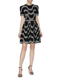 Alexander McQueen Wavy dot jacquard scalloped knit skirt