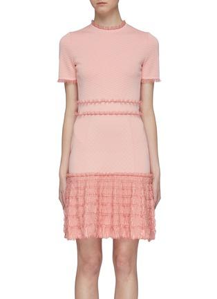 d22c38aeef61 Alexander McQueen Ruffle trim tiered hem jacquard knit mini dress