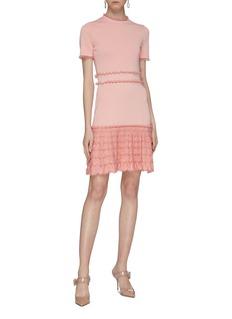 Alexander McQueen Ruffle trim tiered hem jacquard knit mini dress