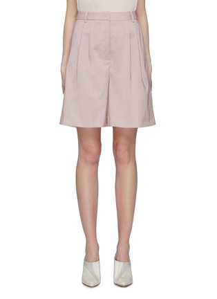 Main View - Click To Enlarge - TIBI - Pleated virgin wool shorts
