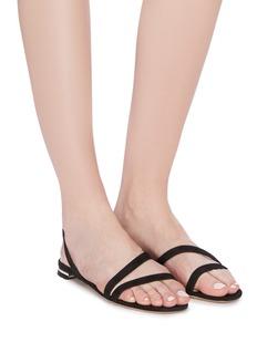 Nicholas Kirkwood 'Casati' faux pearl heel strappy suede sandals