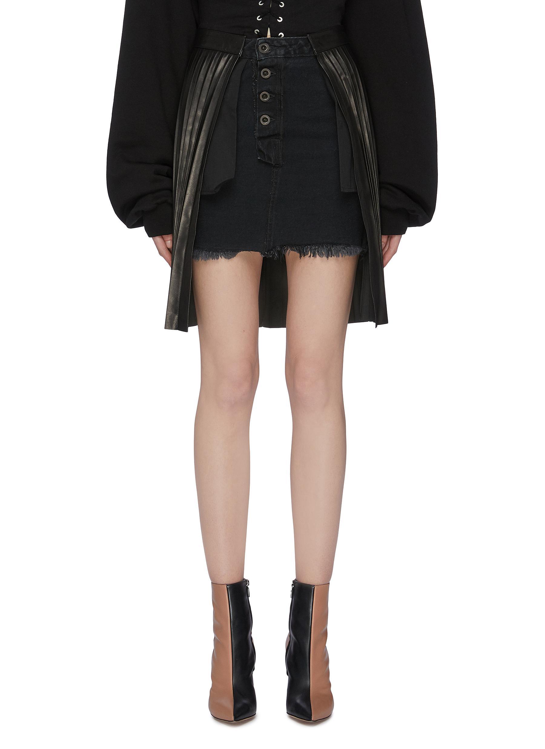 81492b8882be Ben Taverniti Unravel Project. Pleated leather overlay panel denim skirt