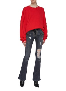 Ben Taverniti Unravel Project  Lace-up ripped flared jeans